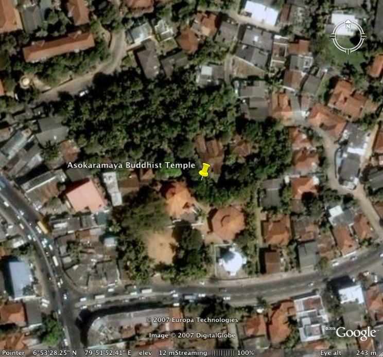 Satellite image of the Asokaramaya generated from Google Earth
