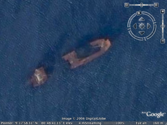 Google Earth screen shot of a wrecked LTTE ship off Mullativu, Sri Lanka
