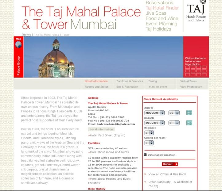 Taj Mahal Palace & Tower hotel website screen shot