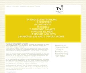 Main Taj Hotels website screen shot Nov 29 2008