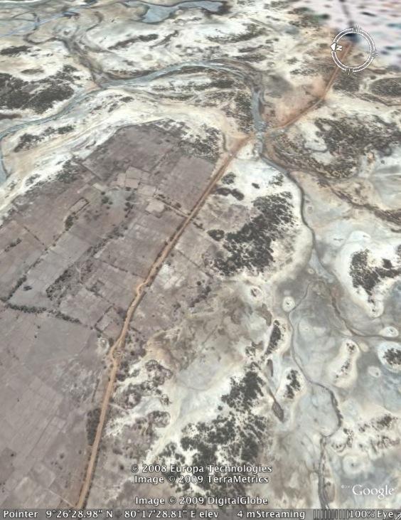 Open terrain around Nevil in Northern Sri Lanka -Google Earth image