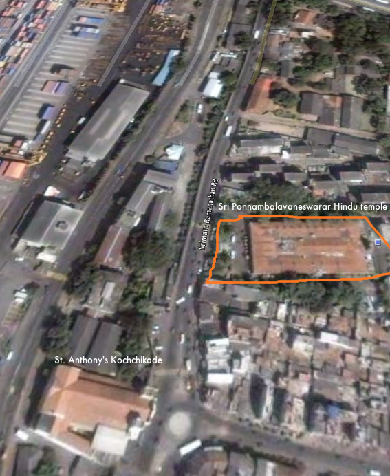 Google Earth view of Sri Ponnambalavaneswarar Hindu temple Colombo