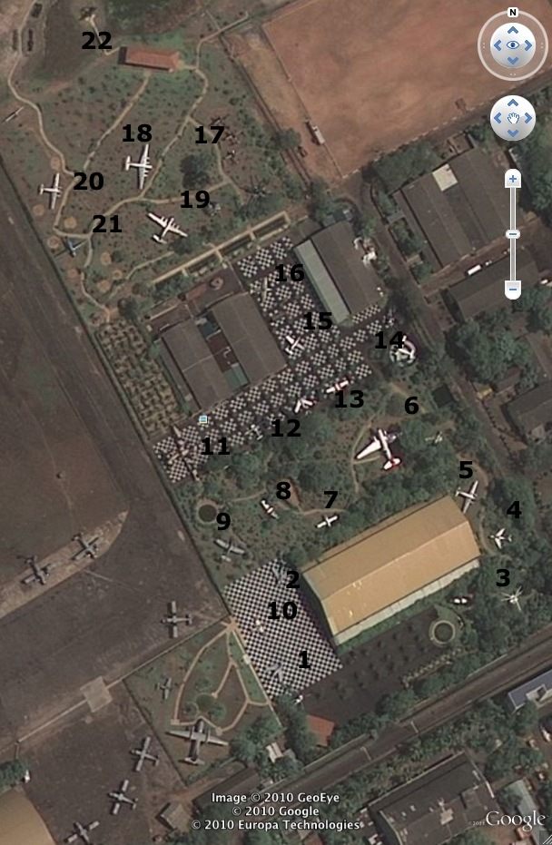Google Earth screen grab of the SLAF museum with outdoor exhibits numbered