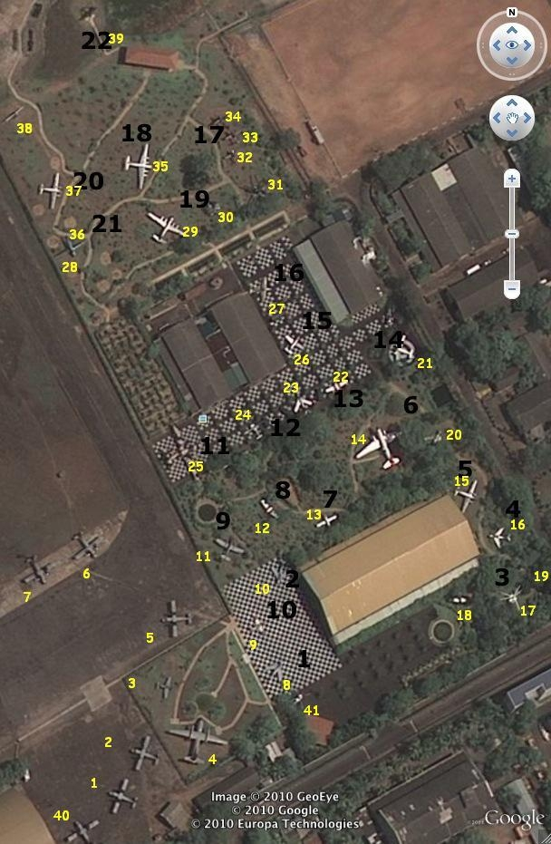 Google Earth image of Sri Lanka Air Force museum's out door exhibits
