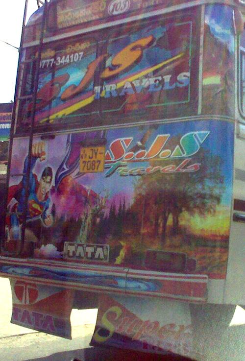 Superman Bus vehicle graphic, Colombo Sri Lanka