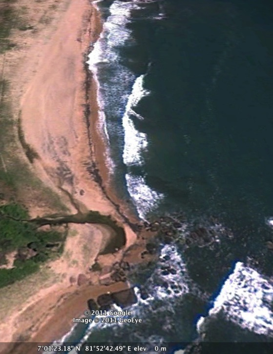Screen shot of Sri Lanka's eastern most point as viewed from Google Earth