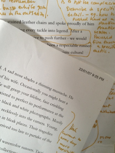 Print out of story draft with hand written notes