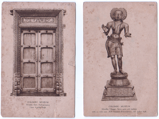 Old postcards each showing an artefact from the Colombo Museum
