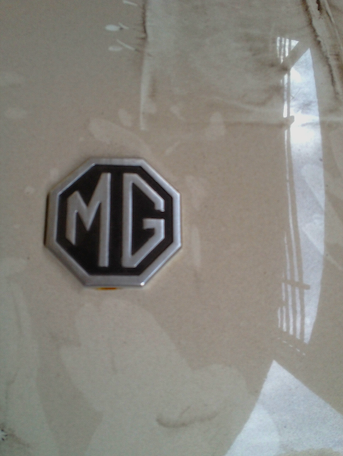 Logo of an abandoned MG convertible, Colombo Sri Lanka