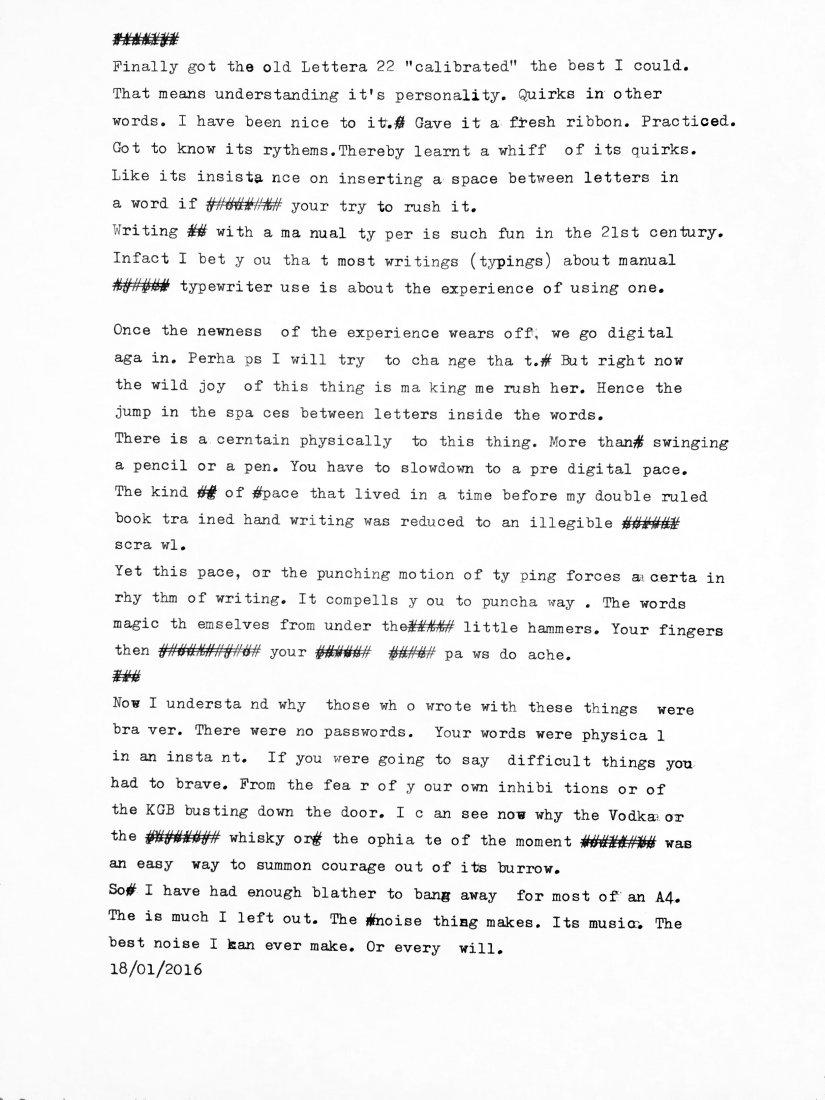 Type written blog post