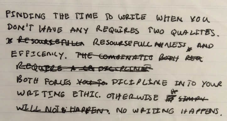 Photo of handwritten blog post: The text reads: Finding the time to write when you don't have any requires two qualities. Resourcefulness and efficiency. Both forces discipline into your writing ethic. Otherwise no writing happens.